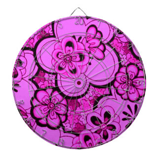 Retro Abstract Flowers Magenta Pink Dartboard