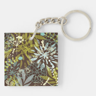 Retro Abstract Flowers on Brown Keychain