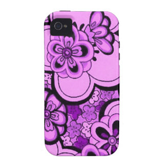 Retro Abstract Flowers Purple Amethyst Case-Mate iPhone 4/4S Covers