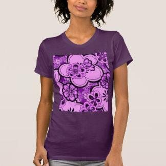 Retro Abstract Flowers Purple Amethyst T-Shirt