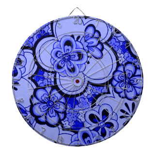 Retro Abstract Flowers Sapphire Blue Dartboard