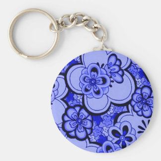 Retro Abstract Flowers Sapphire Blue Keychain