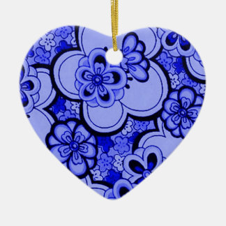 Retro Abstract Flowers Sapphire Heart Ornament