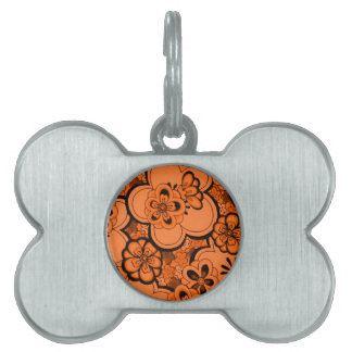 Retro Abstract Flowers Tangerine Orange Pet Tag