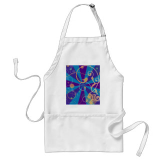 Retro Abstract Funky Swirl Adult Apron