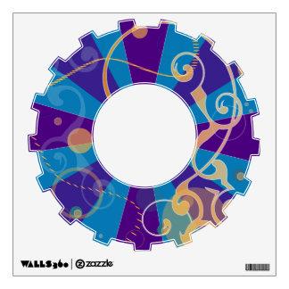 Retro Abstract Funky Swirl Gear Wall Sticker