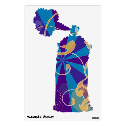 Retro Abstract Funky Swirl Spray Can Wall Stickers