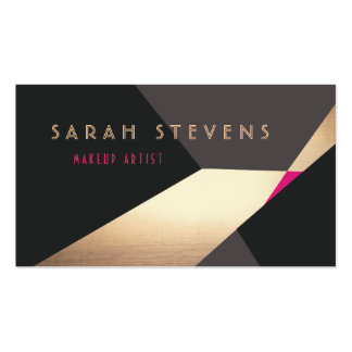 Retro Abstract Gold Makeup Artist Modern Edgey Double-Sided Standard Business Cards (Pack Of 100)