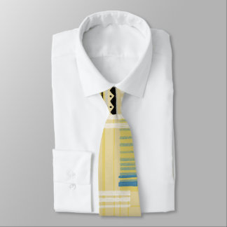 Retro Abstract in Yellow With Geo Neck Tie