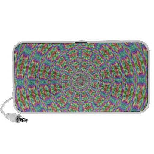 Retro Abstract Kaleidoscope 70s Doodle Travel Speakers