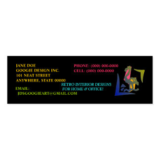 RETRO ABSTRACT NEON FLAMINGO ~ PROFILE CARDS! Double-Sided MINI BUSINESS CARDS (Pack OF 20)