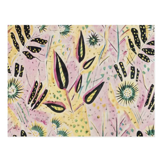 Retro Abstract of Plants Against Pink and Yellow Postcard