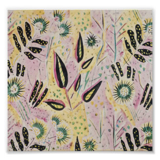 Retro Abstract of Plants Against Pink and Yellow Poster