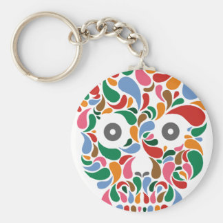 Retro / Abstract paisley color drop skull Basic Round Button Keychain