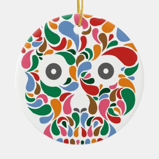 Retro / Abstract paisley color drop skull Ceramic Ornament