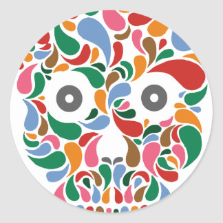 Retro / Abstract paisley color drop skull Classic Round Sticker