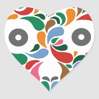 Retro / Abstract paisley color drop skull Heart Sticker