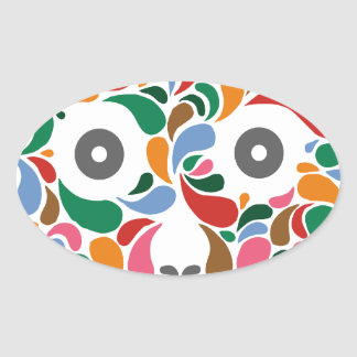Retro / Abstract paisley color drop skull Oval Sticker