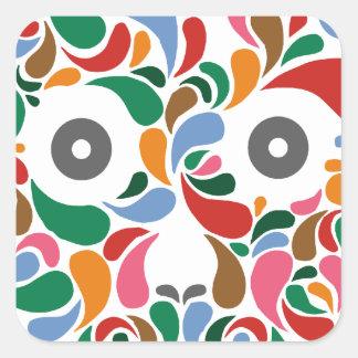 Retro / Abstract paisley color drop skull Square Sticker