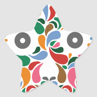 Retro / Abstract paisley color drop skull Star Sticker