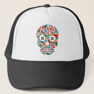 Retro / Abstract paisley color drop skull Trucker Hat