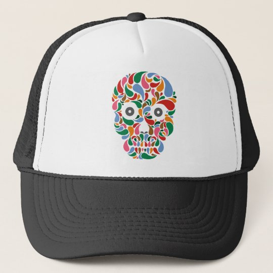 Retro / Abstract paisley color drop skull Trucker Hat