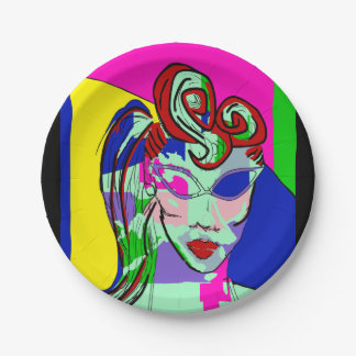 RETRO ABSTRACT PORTRAIT PARTY PLATE