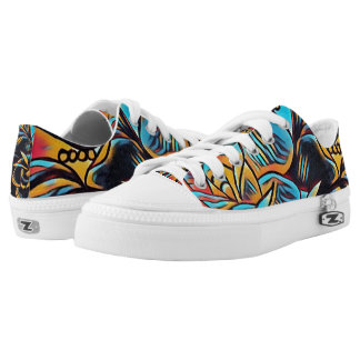 retro abstract swirled out lace up Low-Top sneakers