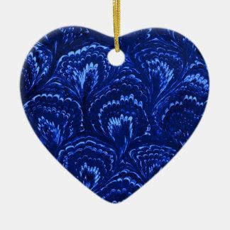 Retro Abstract Swirls Sapphire Blue Heart Ornament