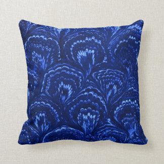 Retro Abstract Swirls Sapphire Blue Throw Pillow Pillows