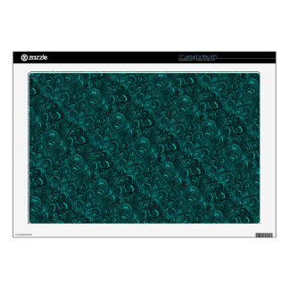 """Retro Abstract Swirls Teal Peacock Turquoise Skins For 17"""" Laptops"""