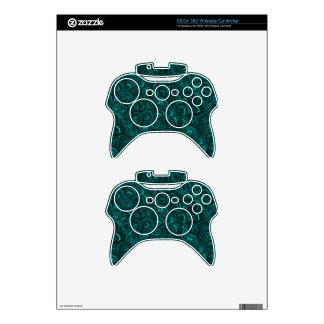 Retro Abstract Swirls Teal Peacock Turquoise XBOX Xbox 360 Controller Skin