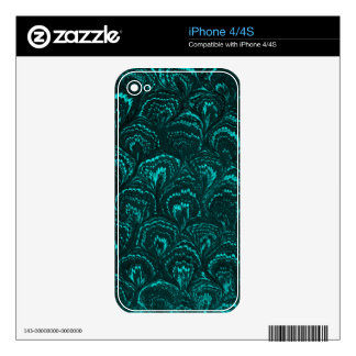 Retro Abstract Swirls Teal Turquoise Skins For iPhone 4S