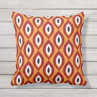 Retro Abstract Tribal Pattern Orange Outdoor Pillow