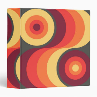 Retro Abstract Wavy Rainbow Squares Abstract Art 3 Ring Binder