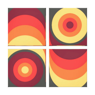 Retro Abstract Wavy Rainbow Squares Abstract Art Canvas Print