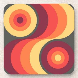 Retro Abstract Wavy Rainbow Squares Abstract Art Coaster