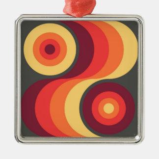 Retro Abstract Wavy Rainbow Squares Abstract Art Metal Ornament
