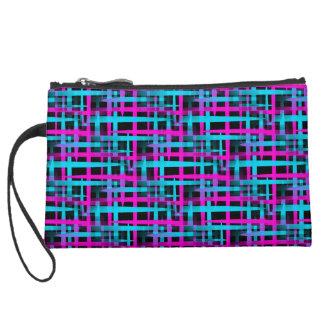 Retro Abstract Weave Pattern Suede Wristlet Wallet