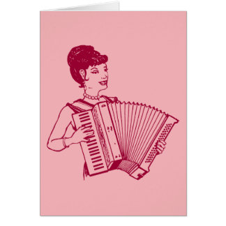 Retro Accordion Lady Card