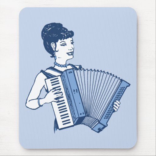Retro Accordion Lady Mouse Pads