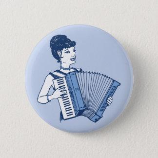 Retro Accordion Lady Pinback Button