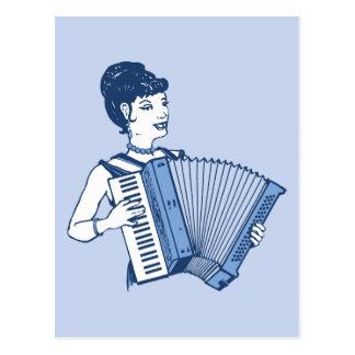 Retro Accordion Lady Postcard