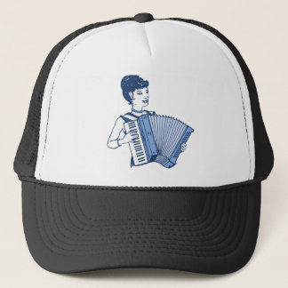 Retro Accordion Lady Trucker Hat