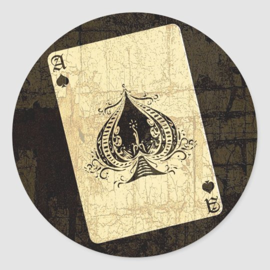 Retro Ace of Spades Classic Round Sticker