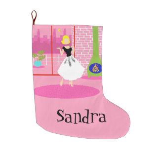 Retro adaptable en el almacenamiento rosado del bota navideña grande