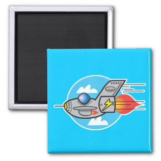 retro aeroplane jet 2 inch square magnet