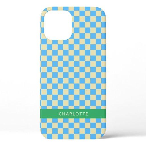 Retro Aesthetic Checkerboard Blue Personalized iPhone 12 Pro Case