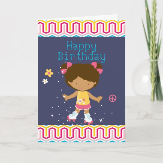 Retro African American Roller Skating Birthday Card Zazzle