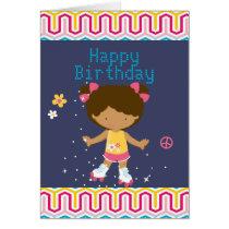 Retro African American Roller Skating Birthday Card